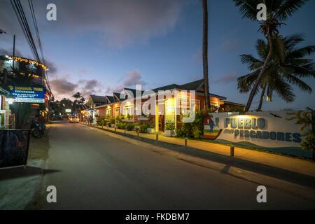 Pueblo de los Pescadores at night, Las Terrenas, Samana,  Dominican Republic, Carribean, America, - Stock Photo