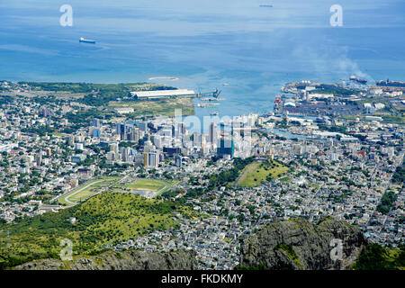 Port Louis Mauritius city skyline over blue sky - Stock Photo