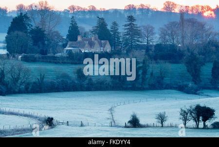 a frosty winter's morning near Milborne Port, Somerset, England, UK - Stock Photo