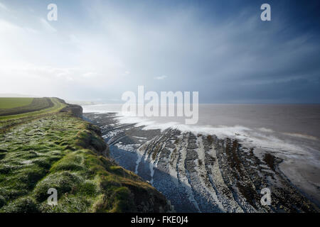 Coast at Lilstock. Somerset. UK. Blue Lias limestone ledges typical of the 'Blue Anchor to Lilstock Coast SSSI' - Stock Photo
