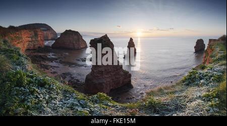 Ladram Bay, Sunrise. Jurassic Coast World Heritage Site. Devon. UK. - Stock Photo