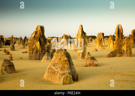 The Pinnacles, limestone formations, Nambung National Park, near Cervantes, Western Australia - Stock Photo