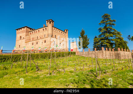Grinzane Cavour Castle, world Heritage, near Barolo, wine route, Langhe region Cuneo, Piedmont Italy - Stock Photo