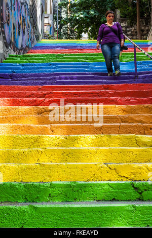Colourful painted steps, Karakoy region, Istanbul, Turkey - Stock Photo