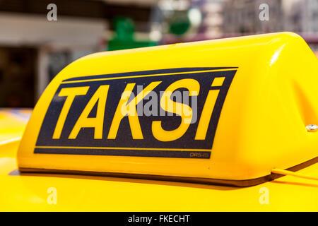 Taksi sign on a taxi, Istanbul, Turkey - Stock Photo