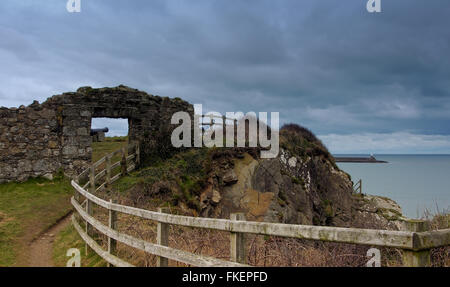 Remains of fort with lighthouse protecting Fishguard harbour, Pembrokeshire, Wales - Stock Photo