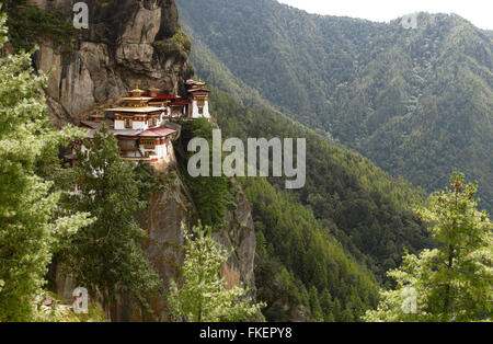 Tiger's Nest Monastery in the cliffside of Paro valley, Taktshang Goemba, near Paro, the Himalayas, Kingdom of Bhutan - Stock Photo