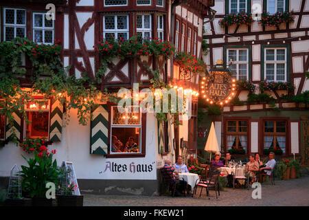 Weinhaus Altes Haus restaurant, Bacharach, Rhine Gorge, Rhineland-Palatinate, Germany - Stock Photo
