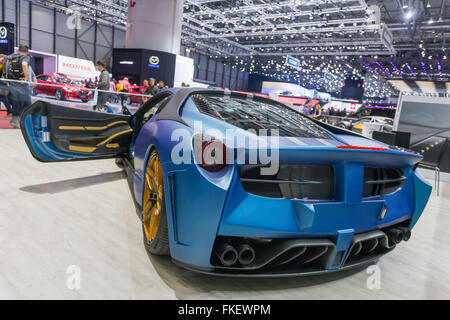 A ferrari at the 2016 automotive show in Geneva, Switzerland. - Stock Photo