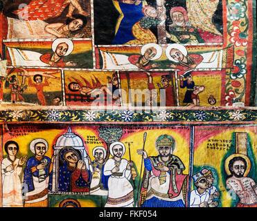 ancient ethiopian orthodox church interior painted walls in gondar ethiopia - Stock Photo