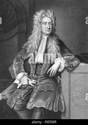 Sir Isaac Newton, the 17th/18thC English physicist and mathematician. Portrait by William Derby and engraving by - Stock Photo