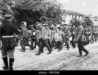 British prisoners in Germany being taken to prisoner-of-war camps after battles in the Somme during World War I. Photo from Bain News Service, 1916