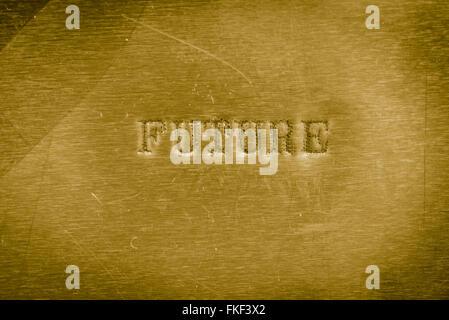 word future printed on  golden metallic background texture - Stock Photo