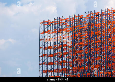 Red metal construction on the sky background - Stock Photo