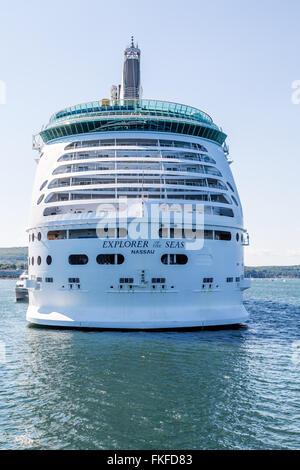 Royal Caribbean Explorer of the Seas docked in Bar Harbor, Maine - Stock Photo