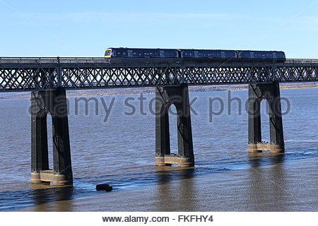Train crossing Tay Rail Bridge Wormit Fife Scotland  March 2016 - Stock Photo