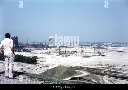 The Olympic Park of Munich under construction for the Olympic Games 1972. View from Schuttberg. Blick vom Schuttberg - Stock Photo