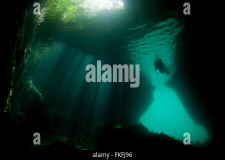 Shallow cave in dive site called The Passage with a snorkeler. - Stock Photo