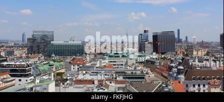 Vienna Aerial cityscape #1 - panoramic, Vienna, Austria - Stock Photo