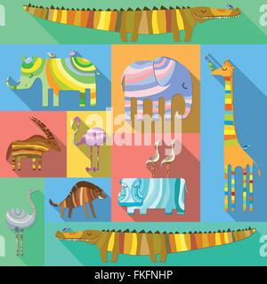 Flat Icons with African Animals - Stock Photo