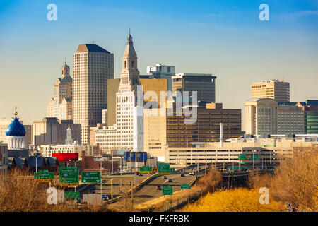 Hartford skyline on a sunny afternoon. Hartford is the capital of Connecticut. - Stock Photo
