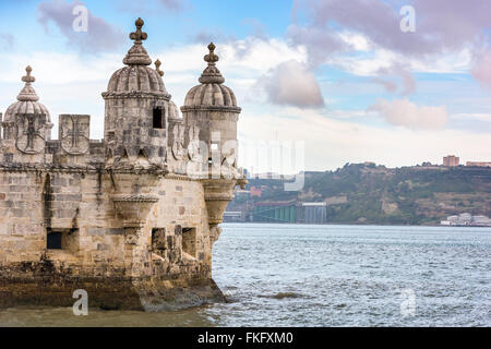 Turret of Belem Tower in Lisbon, Portugal. - Stock Photo