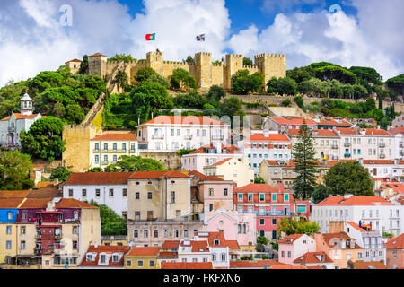 Lisbon, Portugal skyline at Sao Jorge Castle in the day. - Stock Photo