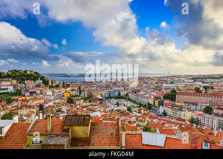 Lisbon, Portugal skyline in the day. - Stock Photo