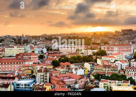 Lisbon, Portugal Baixa district skyline during sunset. - Stock Photo