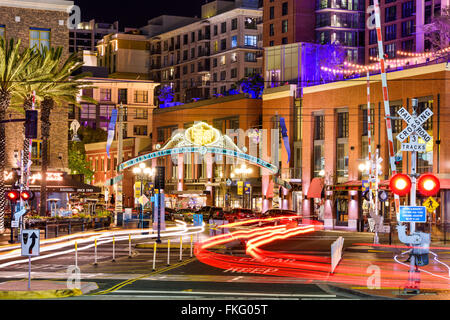Gaslamp Quarter at night in San Diego, California, USA. - Stock Photo