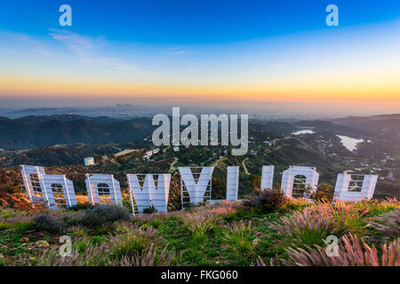 The Hollywood sign overlooking Los Angeles, California, USA. - Stock Photo