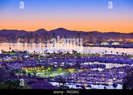 San Diego, California, USA bay and skyline. - Stock Photo