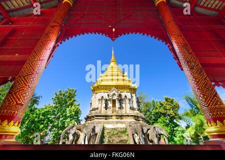 Chiang Mai, Thailand at Wat Chiang Man. - Stock Photo