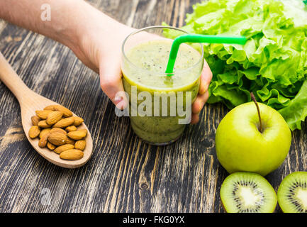 Close up of  smoothies with various ingredients.  Superfoods and healthy lifestyle or detox  diet food concept. - Stock Photo