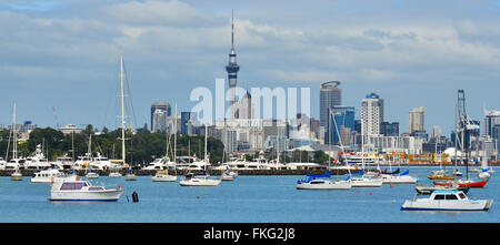 AUCKLAND - JAN 11 2016:Panoramic view of Auckland city skyline.One of Auckland's nicknames is the City of Sails - Stock Photo