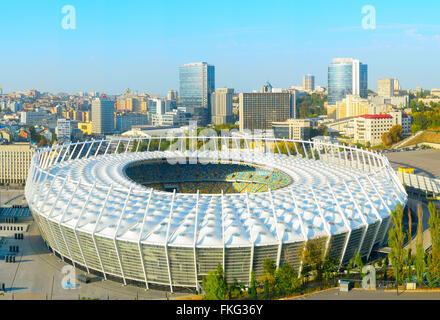 Aerial view of  Olympic stadium at sunset. Kiev, Ukraine - Stock Photo