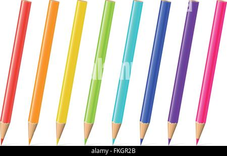 Set of eight pencils in rainbow colors. - Stock Photo