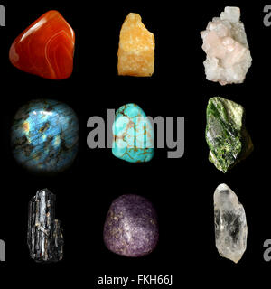 Set of various mineral rocks and stones,  Red Chalcedony, Yellow Calcite, Apophyllite, Labradorite, Turquoise, Green - Stock Photo