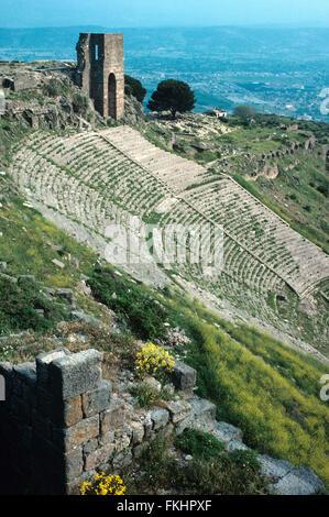 Antique Greek or Hellenistic Theatre or Theater at Pergamon or Pergamum, present-day Bergama, Turkey - Stock Photo