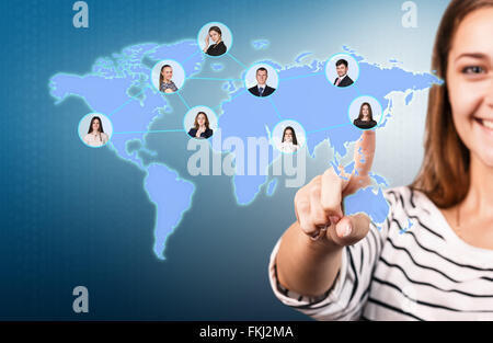 Blurred young woman pointing finger at you - Stock Photo