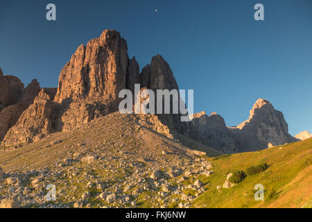 Sunrise in Passo Sella, Dolomite Mountains - Stock Photo