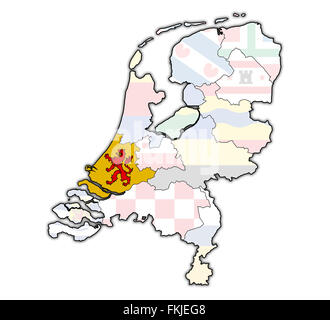 south holland flag on map with borders of provinces in netherlands