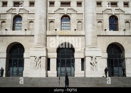 Italy: Italy's main stock exchange 'Borsa Italiana' in Milan. Photo from 03. March 2016. - Stock Photo