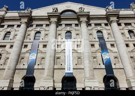 Italy: Italy's main stock exchange 'Borsa Italiana' in Milan. Photo from 02. March 2016. - Stock Photo