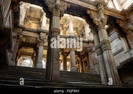 Adalaj Stepwell is a Hindu water building in the village of Adalaj, close to Ahmedabad town in the Indian state - Stock Photo