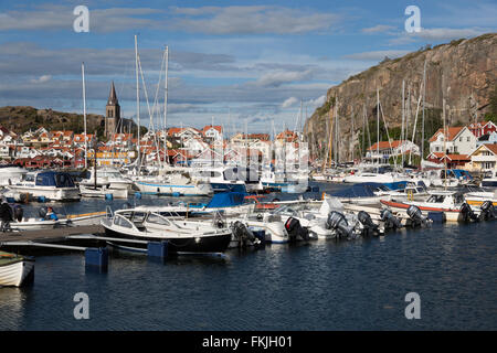View over harbour and Vetteberget cliff, Fjällbacka, Bohuslän Coast, Southwest Sweden, Sweden, Scandinavia, Europe - Stock Photo