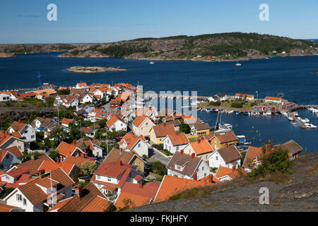 View over harbour and town from Vetteberget cliff, Fjällbacka, Bohuslän Coast, Southwest Sweden, Sweden, Scandinavia, - Stock Photo