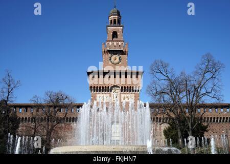Italy: Main entrance of Milan's Castello Sforzesco with the Torre del Filarete. Photo from 03. March 2016. - Stock Photo