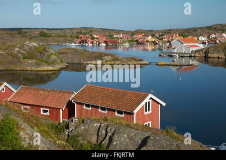 View to falu red fishermen's houses, Stocken, Orust, Bohuslän Coast, Southwest Sweden, Sweden, Scandinavia, Europe - Stock Photo