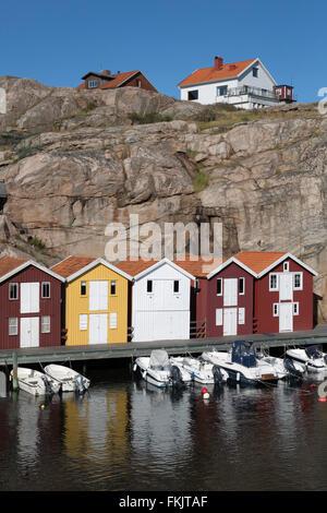 Traditional falu red fishermen's houses in harbour, Smögen, Bohuslän Coast, Southwest Sweden, Sweden, Scandinavia, - Stock Photo